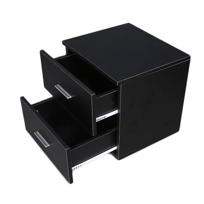 2 tiroirs meuble à chevet Table de nuit noir commode - Achat / Vente ...