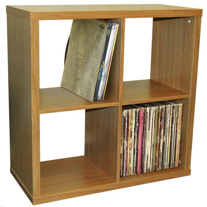 Cube 4 Etagere De Rangement Vinyls Lp Finition Chene