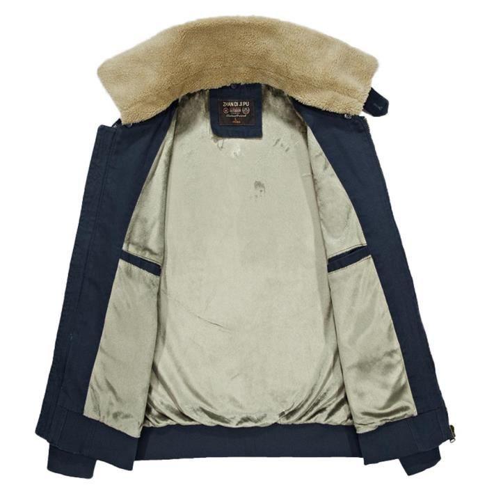 Militaire Polaire Chaud Hiver Doublé Homme Couleur Coton Unie Col Veste  Amovible q8RwIp8x 4242bd6e8c1