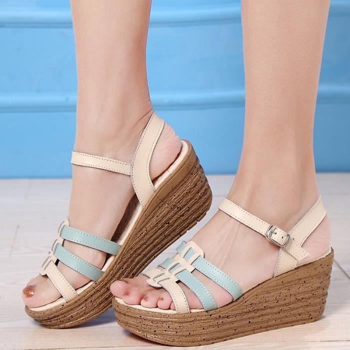 Femmes d'été Mode Plate-forme Sandales Compensées