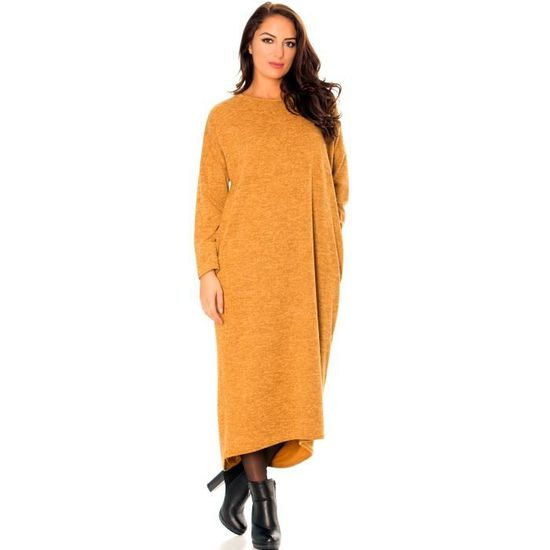 96fa30b4671 Longue robe pull moutarde très ample à manches longues avec poches. 502. -  Achat   Vente moutarde Longue robe pull moutarde - Cdiscount