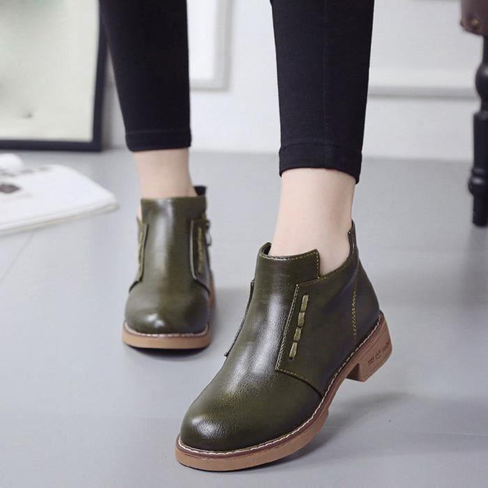 Lacets Chaussures vert Martin Bottes Simples À Britanniques Femmes Courtes SAY0qv