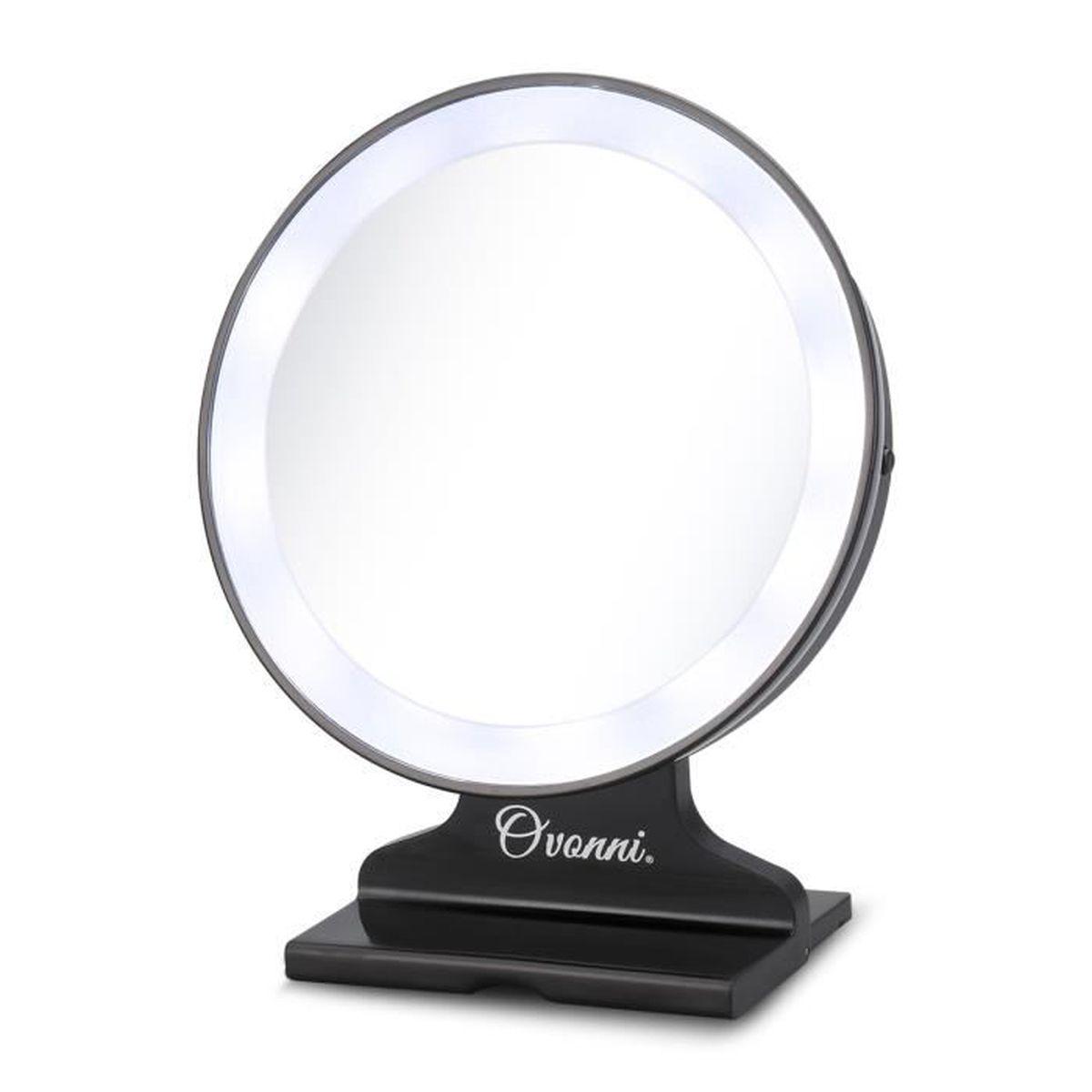 ovonni 5x magnification led miroir cosm tique noir miroir. Black Bedroom Furniture Sets. Home Design Ideas