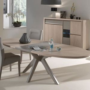 TABLE À MANGER SEULE Table extensible moderne couleur bois et taupe PRO