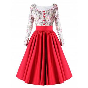 ROBE Robe vintage femme col rond manches longues vintag