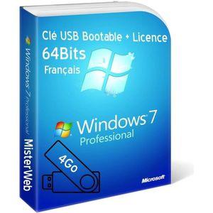 CLÉ USB Clé USB Bootable Windows 7 Pro 64 Bit avec licence