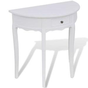 CONSOLE EXTENSIBLE Table console avec tiroir Demi-ronde Blanc
