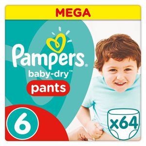 COUCHE PAMPERS Baby-Dry Pants Taille 6 - 15+ kg - 64 Couc
