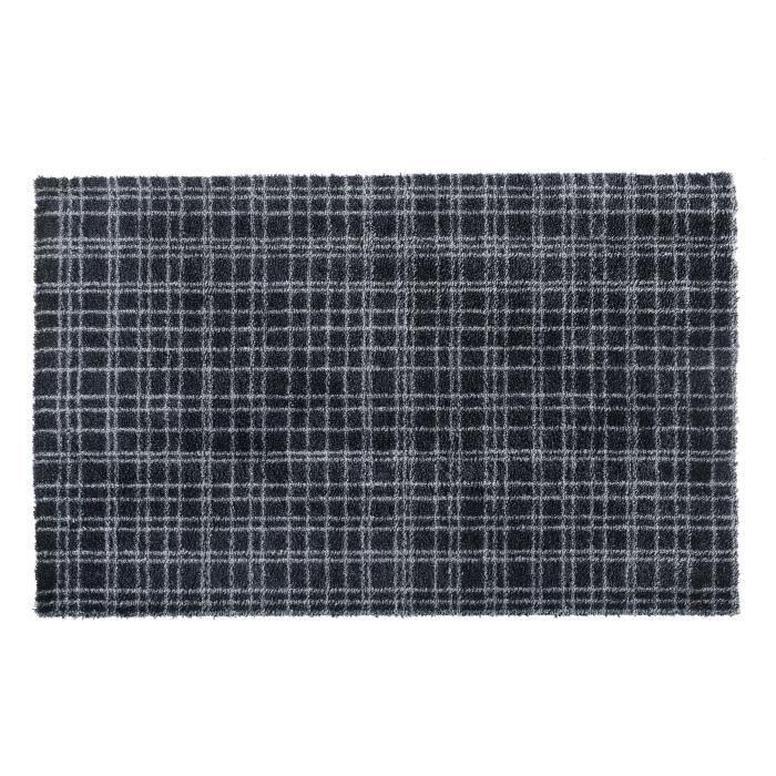 Couleur noire rayée gris anthracite - Lavable 30° - 100% Polyamide - 60x100 cm - Usage intérieurTAPIS D'ENTREE - TAPIS DE SEUIL