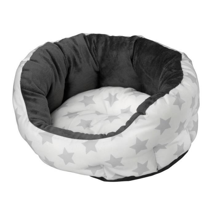 En polaire et polycoton - Dimensions : 55x45x23cm - Coloris : silver - Pour chien.CORBEILLE - PANIER - COUSSIN - HAMAC - LIT