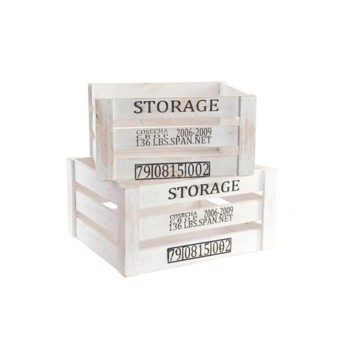 ITEM Lot de 2 Boîtes de rangement Bois - 38x32x19 cm - Blanc