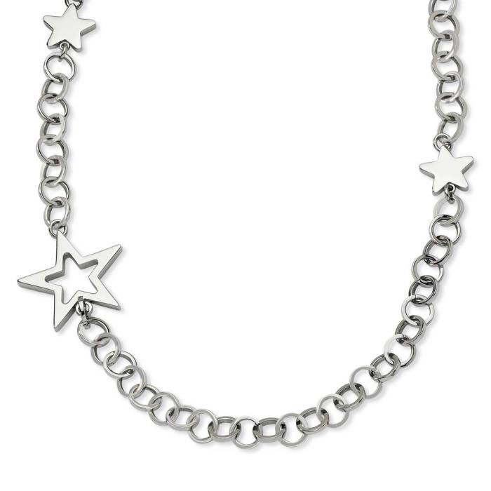 Polie forte étoiles-Collier Femme-Acier inoxydable - 30 cm