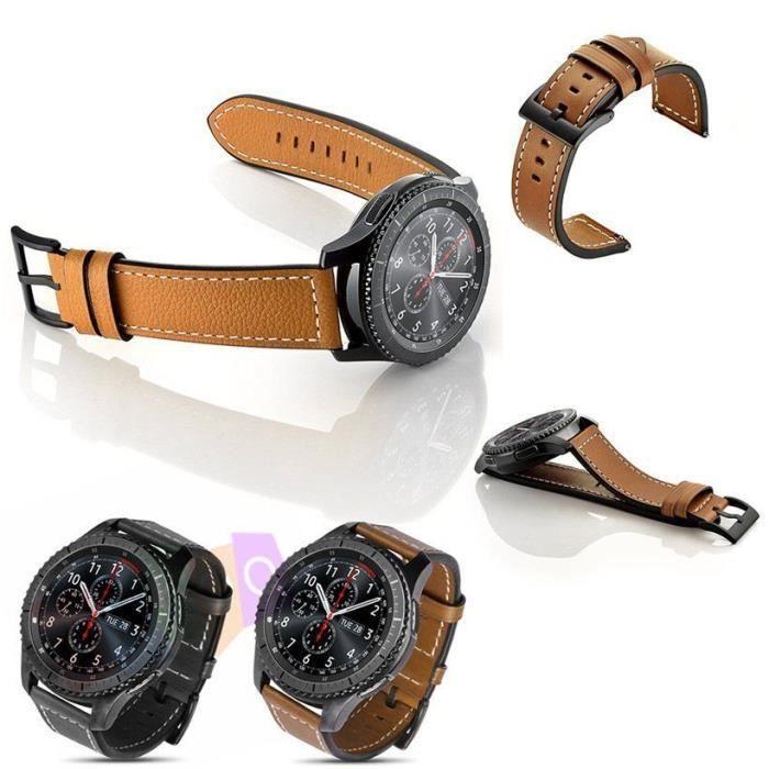 BRACELET DE MONTRE Bracelet en cuir pour Samsung Gear S3 Frontier / C