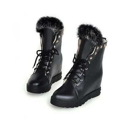 Nouveaux bottes de neige de la mode avec des bottes plates sein de style augmenté de collège, blanc 36