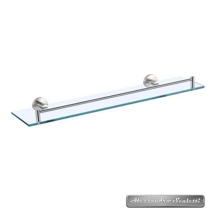 Tablette salle de bains en métal brossé et verre 50 cm - Artic Métal ...