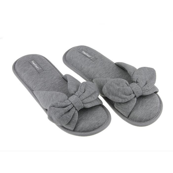Décor Taille 39 Euro Maison Anti femme Chaussures 38 glissant Pantoufles Papillon Sandales Coton Fille De Doux Nœuds Respirant Znqfv