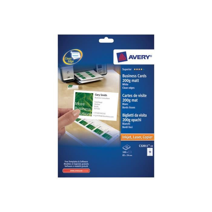 Avery QuickClean C32011 Blanc 45 X 85 Mm 200 G M 100 Cartes 10 Feuilles De Visite