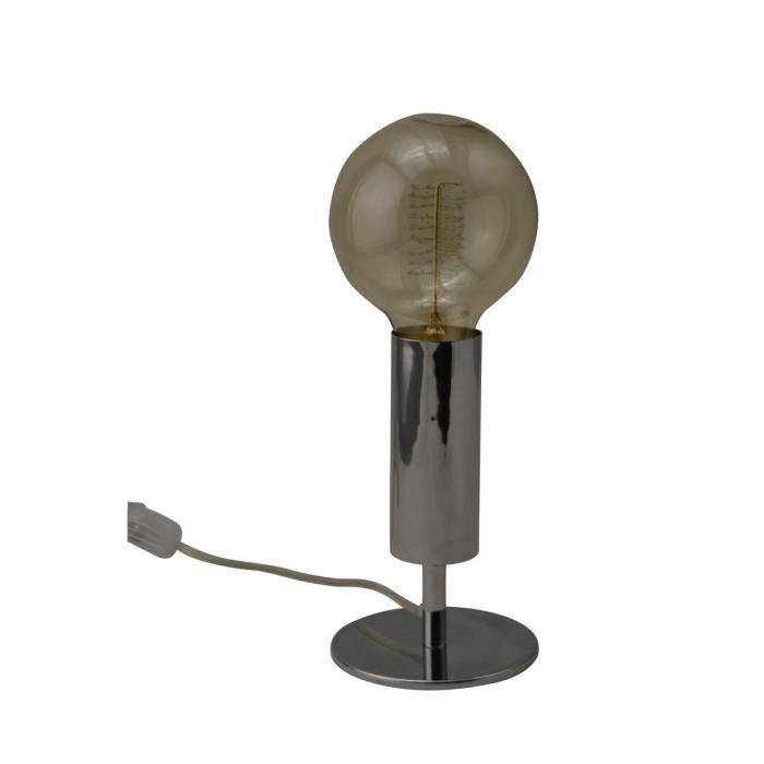 Lampe A Poser Vintage Led Vip 9 8 Cm Chrome Achat Vente Lampe