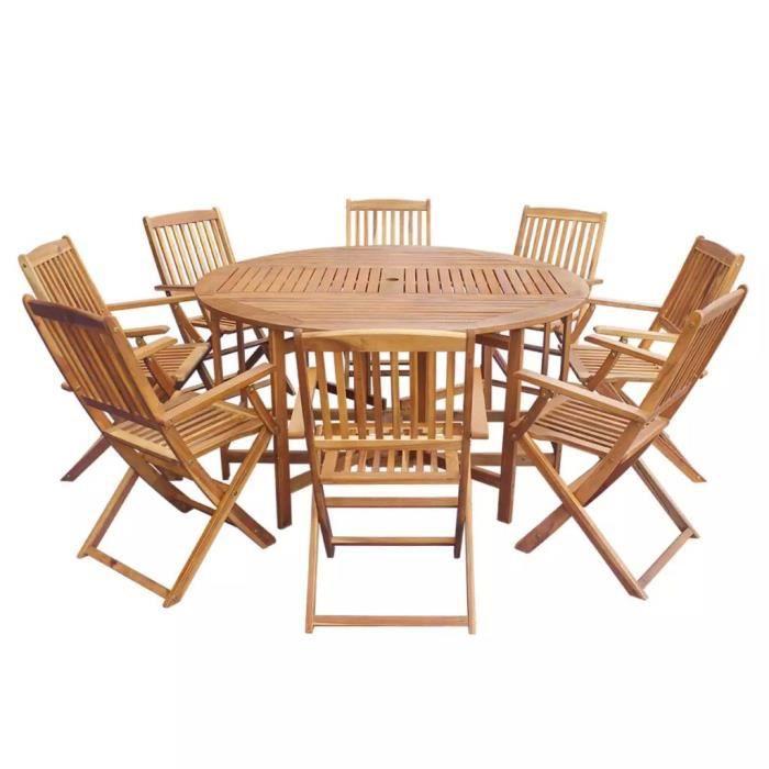 Table En Bois Avec 8 Chaises Exterieur Achat Vente Pas Cher