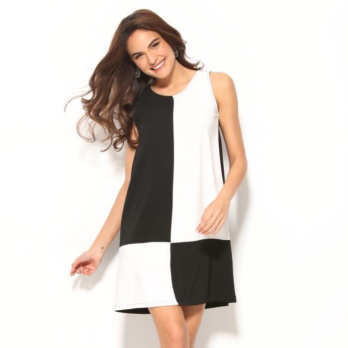 robe damier noir et blanc sans manches femme venca noir. Black Bedroom Furniture Sets. Home Design Ideas