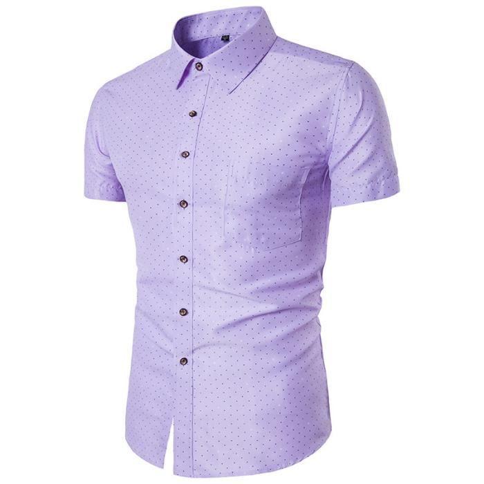 Chemise Homme Mode Imprimé à Manches Courtes Casual Ete Violet ... c85cdd1e7a09