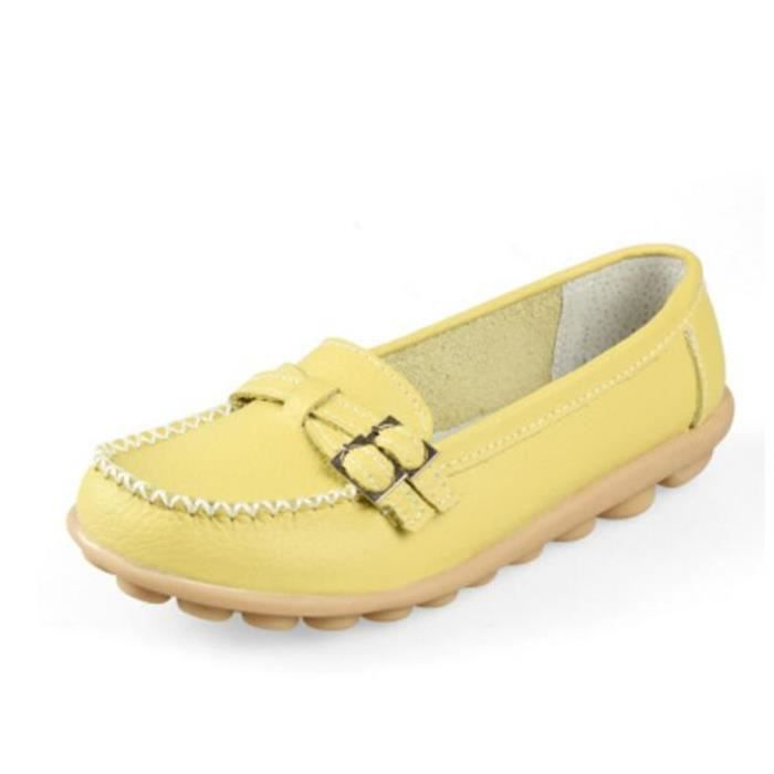 femmes Moccasins Antidérapant agréable En Cuir Chaussure en caoutchouc Pour randonnée de plein air Grande Taille 41