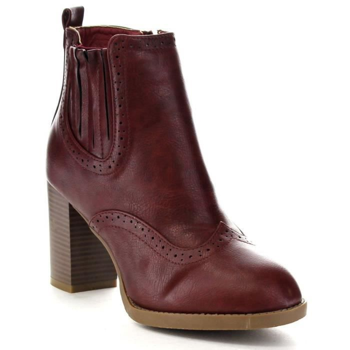 Bella Marie Kenzie-17 Perforated Elastic Side Zip Stacked Ankle Bootie Boots OQJFL Taille-38