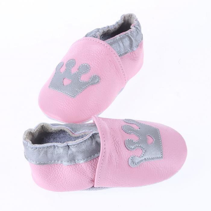 CHAUSSON - PANTOUFLE Chaussons Bébé Cuir Souple Chaussures Premiers Ros 28be9a2e8f53