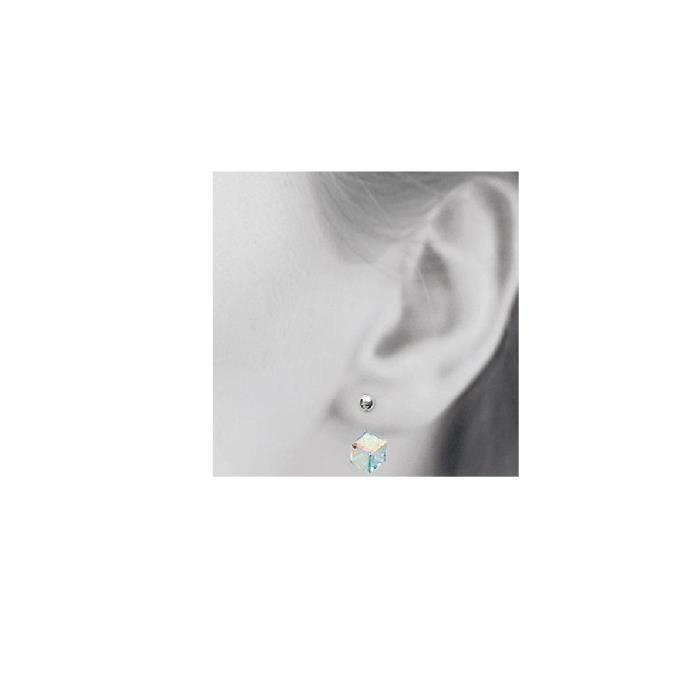 Boucles doreilles cristalcube 8x15mm,devant/derrière argent massif 925°°°