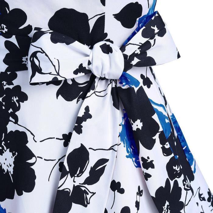 Napoulen®Femmes Vintage floral robe de soirée Bodycon courte manche Casual Prom SwingBleu XXP71212425BU