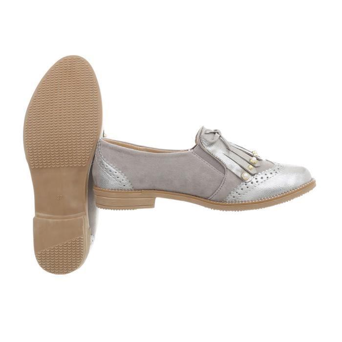 Gris Clair Flats neurs Bleu Chaussures On Slipper Femme Slip Fl 37 Ballerinas Bz11xqPgOw