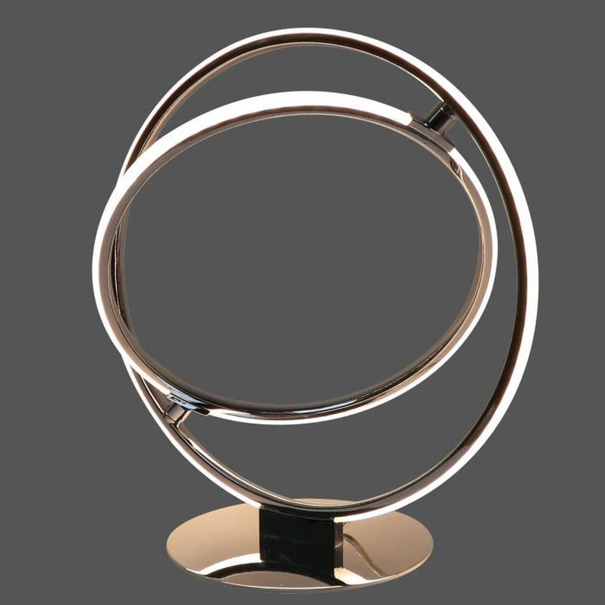 Lampe H30 Blanc Cercle Led Chrome Design En – Cm À Poser Métal Pnk0wO