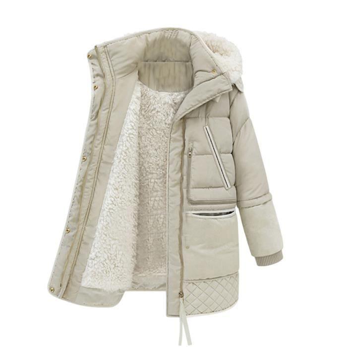 À Unie Couleur Doudoune Épais Jacket Coton blanc Capuchon Down Long Femmes En Manteaux Chaud Laine D'agneau qIwAv