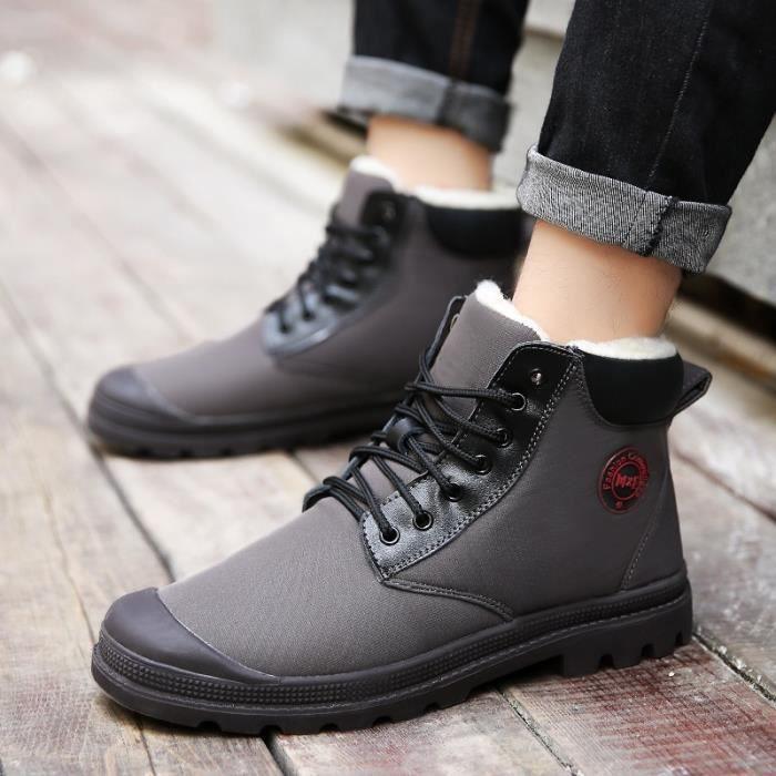 Botte Homme Style coréen en cuir plates Ajouter Laine gris taille7