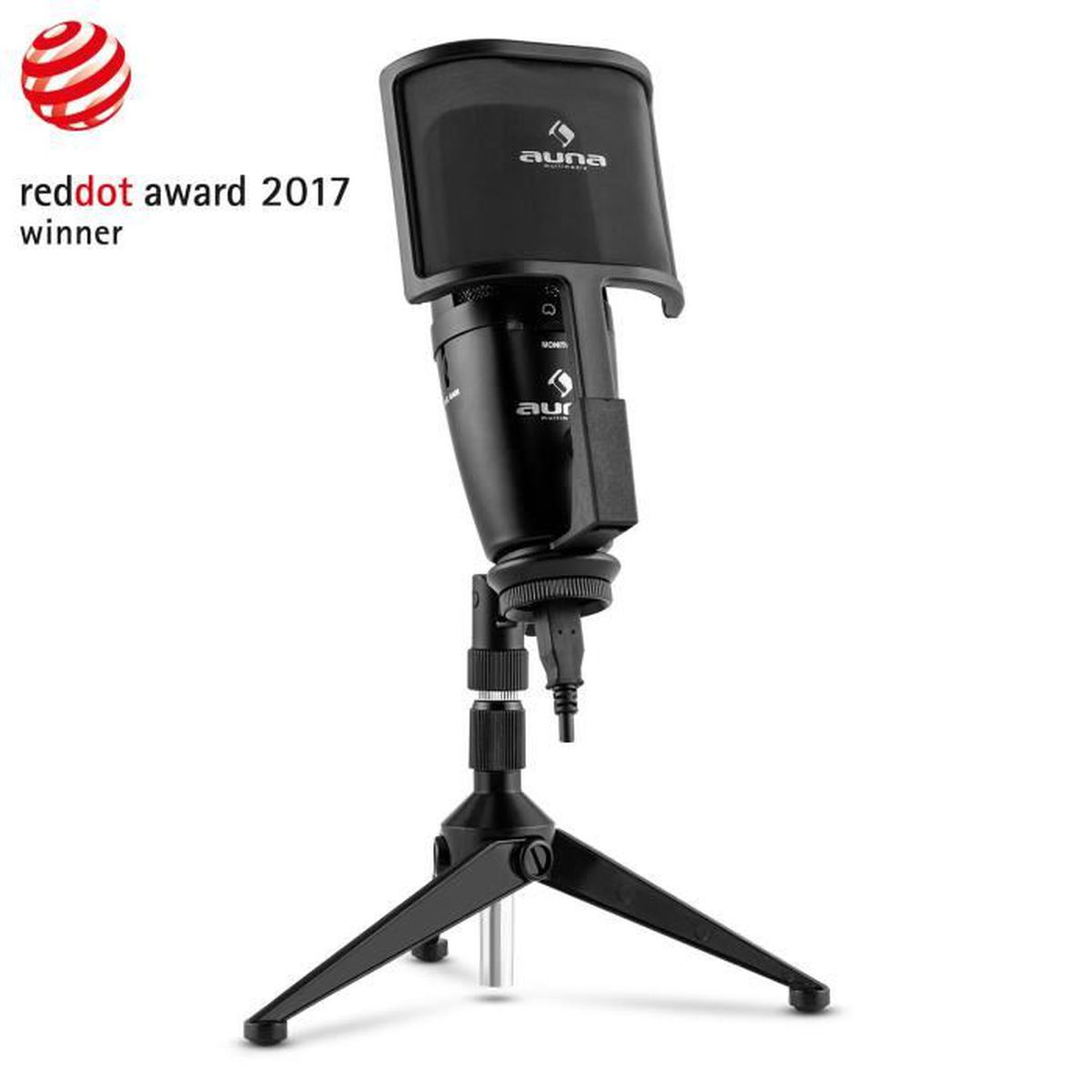 professionnel de premier plan haute qualité Pré-commander Auna Studio-Pro Microphone USB à condensateur avec pied ...