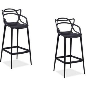 CHAISE LOT DE 2 CHAISES NOIRS MASTER INSPIREES KARTELL