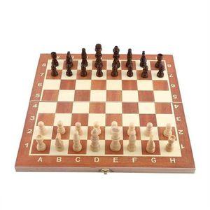 JEU SOCIÉTÉ - PLATEAU Jeu D'échecs Portable En Bois Pliable Ensemble D04