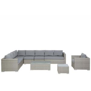Salon de jardin en résine tressée nuances de gris coussins gris 10 ...