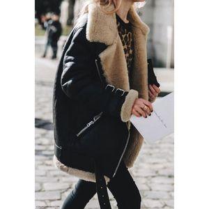 MANTEAU - CABAN Manteau Femme Chaud Hiver Suédé Veste Coton Mode C