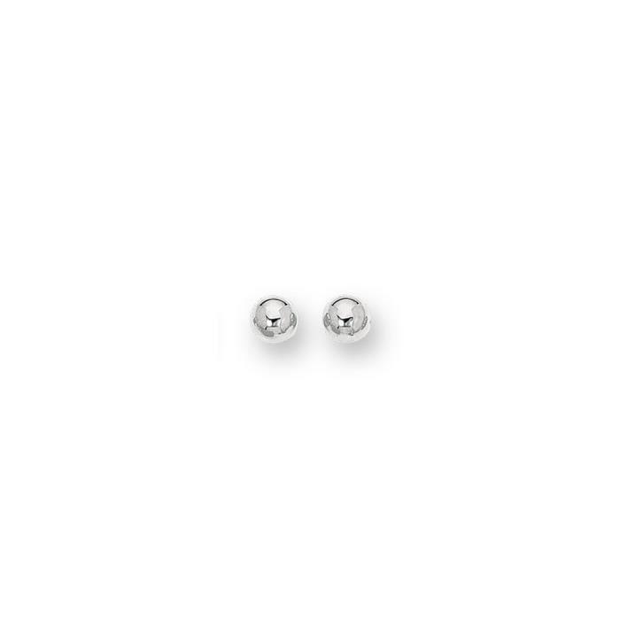 Or blanc 14 carats 8 mm boule-Boucles doreilles