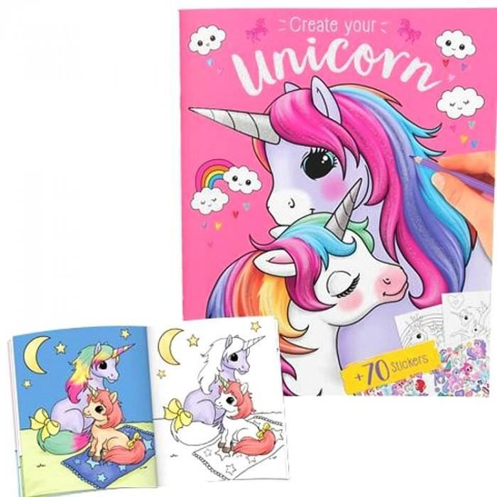 Coloriage Licorne Eau.Album De Coloriage Licornes Et Stickers Achat Vente Livre De