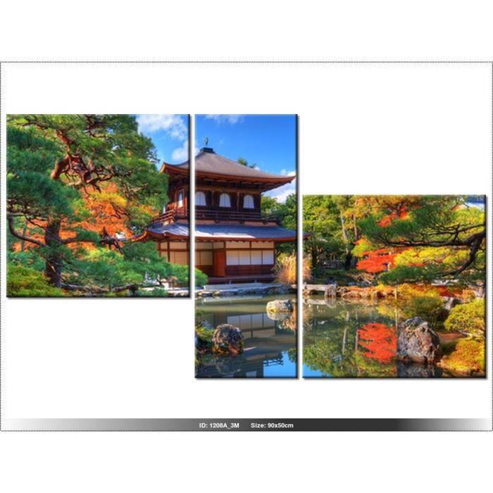 90 x 50cm - JARDIN - JAPON - TABLEAU MULTI PANNEAUX - MODERNE - DECO ...