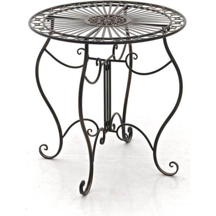 CLP Table de jardin ronde en fer forgé INDRA, faite à la main dans ...