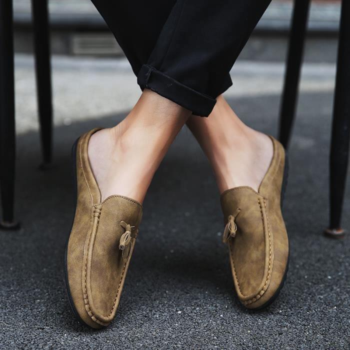 Chaussures pour hommes à mi-chaussettes Chaussures à pois Chaussures de sport respirantes décontractées Chaussures pour bateaux