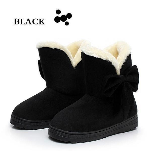 Hiver femmes cheville bottes de neige plus épaisses Noeud papillon Flock Chaud Chaussures Plus la taille 35-42