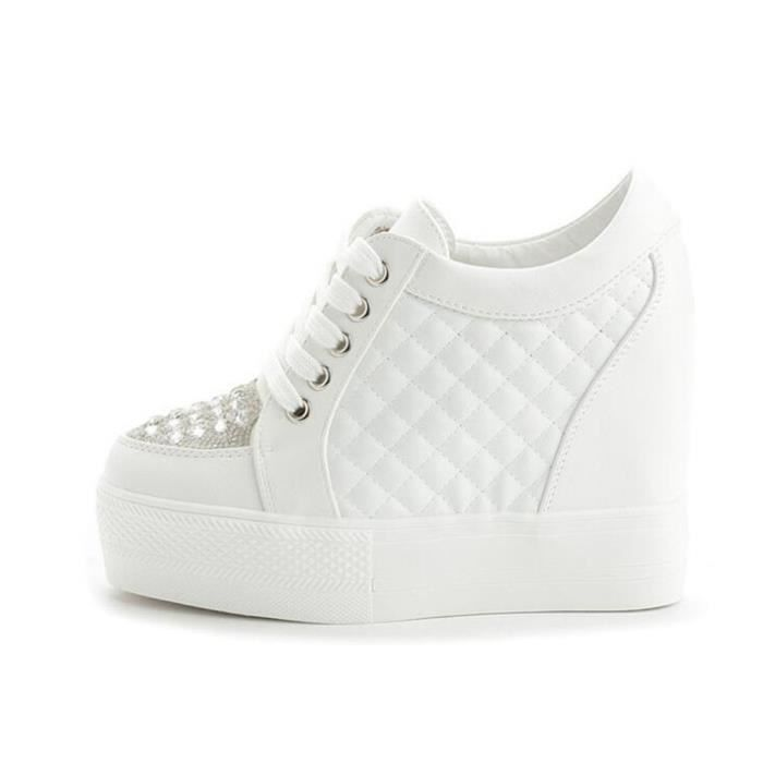Chaussure Compensee Femme Basket Augmentation De La Hauteur Grande Taille Durable YLG-XZ111Blanc38