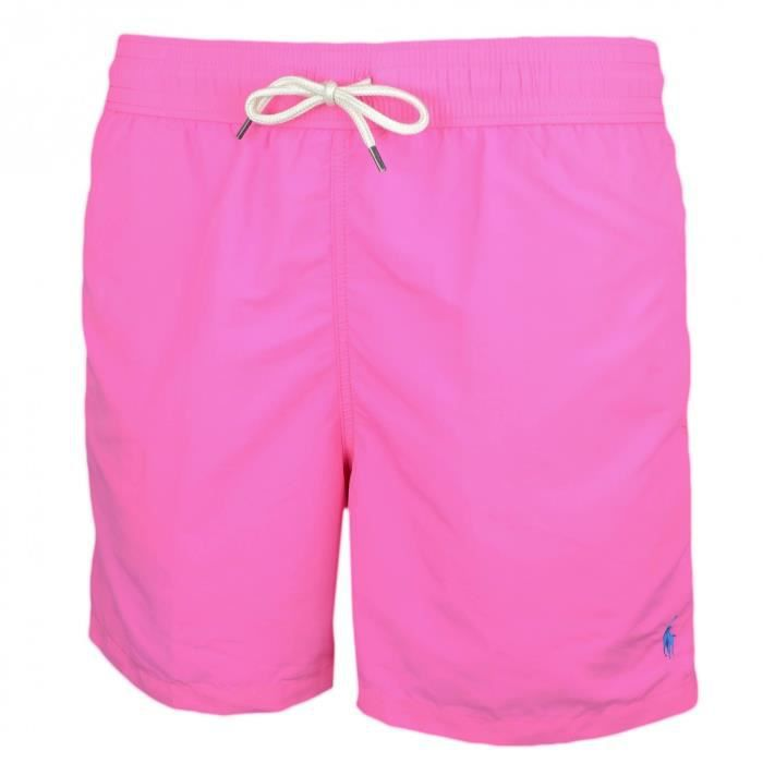 6a6cc526e1d Short de bain Ralph Lauren Traveler rose logo bleu pour homme - Taille  S -  Couleur  Rose