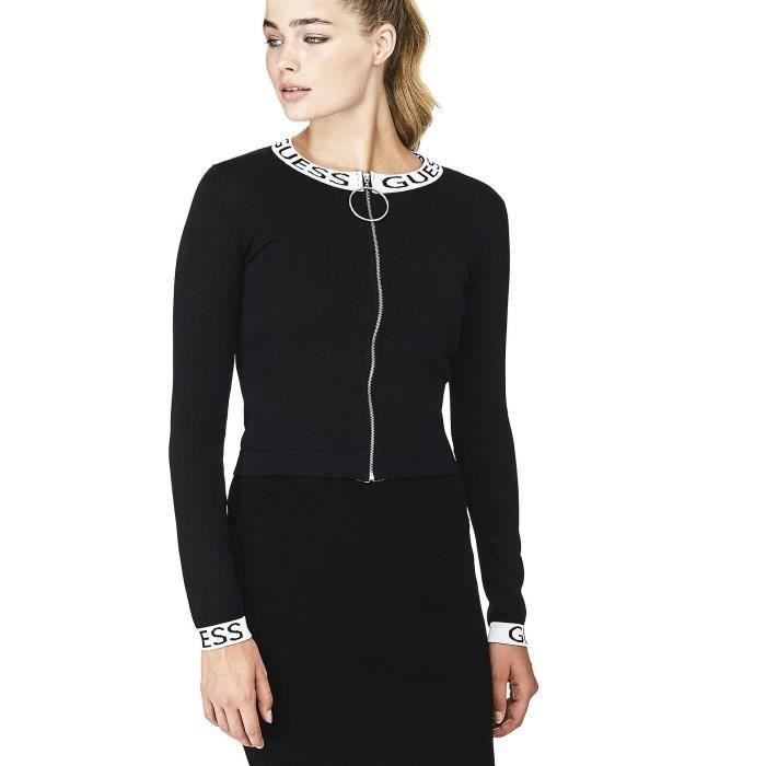 Guess Cardigan Femme Zippé Logo Noir Noir Noir - Achat   Vente gilet ... 13ee59065df