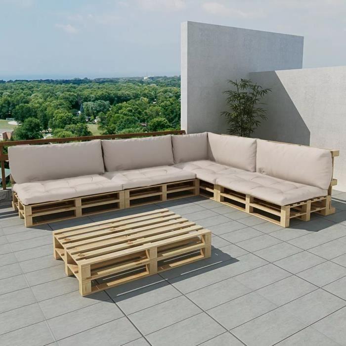 15 pcs Meuble de jardin Salon de jardin Bois avec 9 coussins Sable ...