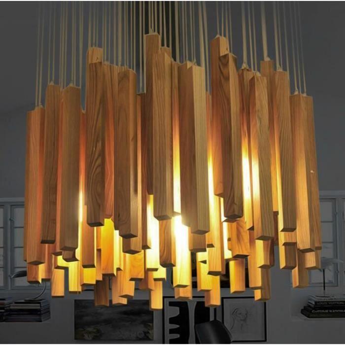 moderne en bois lattes meteor pluie lustre designer art. Black Bedroom Furniture Sets. Home Design Ideas